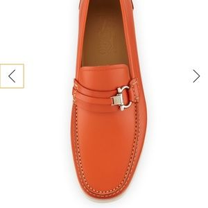 Salvatore Ferragamo Side Bit Boat Loafer Orange